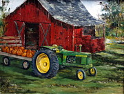 Pumpkins Paintings - Rob Smiths Tractor by Lee Piper