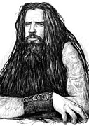 Fame Drawings Prints - Rob zombie art drawing sketch portrait Print by Kim Wang