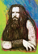 1980s Mixed Media Metal Prints - Rob zombie stylised pop art drawing sketch portrait Metal Print by Kim Wang