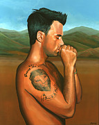 Songwriter  Paintings - Robbie Williams 2 by Paul  Meijering