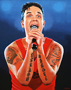 Williams Metal Prints - Robbie Williams Metal Print by Paul Meijering