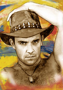 Solo Artist Prints - Robbie Williams stylised pop art drawing potrait poser Print by Kim Wang