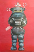 Robby The Robot Framed Prints - Robby the Robot Framed Print by Karen Stitt