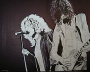 Jimmy Page Artwork Paintings - Robert and Jimmy by Stuart Engel