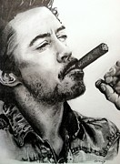 Denim Drawings Posters - Robert Downey Jr. Poster by Amy Albright