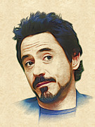 Marina Likholat Metal Prints - Robert Downey Jr. Metal Print by Marina Likholat