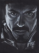 Charcoal Portrait Posters - Robert Downey Jr.  Poster by Rosalinda Markle