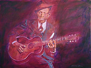 Guitar Player Painting Originals - Robert Johnson by  David Lloyd Glover