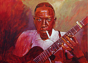 Blues Guitar Paintings - Robert Johnson Photo Booth Portrait by  David Lloyd Glover