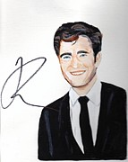 Autographed Metal Prints - Robert Pattinson 64a Metal Print by Audrey Pollitt