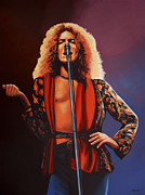 Singer Painting Framed Prints - Robert Plant 2 Framed Print by Paul  Meijering