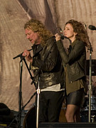 Plant Singing Metal Prints - Robert Plant and Patty Griffin Metal Print by Bill Gallagher