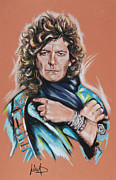 Featured Pastels Framed Prints - Robert Plant Framed Print by Melanie D
