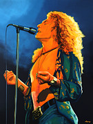 Songwriter Painting Framed Prints - Robert Plant Framed Print by Paul  Meijering