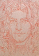 Long Hair Drawings - ROBERT PLANT pencil portrait by Fabrizio Cassetta