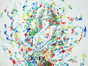 Robert Plant Paintings - ROBERT PLANT SINGING - watercolor portrait.1 by Fabrizio Cassetta