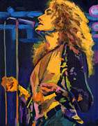 Rock N Roll Mixed Media Posters - Robert Plant.Kashmir Poster by Tanya Filichkin