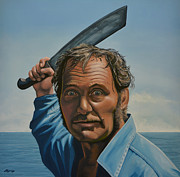 Novelist Paintings - Robert Shaw in Jaws by Paul  Meijering
