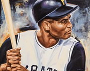 Clemente Painting Originals - Roberto Clemente by Angela  Villegas