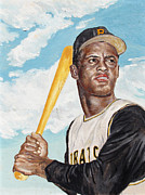 Batter Paintings - Roberto Clemente by Philip Lee
