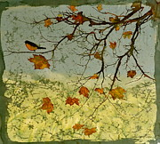 Autumn Landscape Tapestries - Textiles Prints - Robin In maple Print by Carolyn Doe