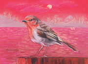 Red Robin Pastels Posters - Robin in Red Landscape Poster by Lucy Hayward