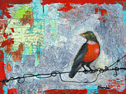 Animal Mixed Media Metal Prints - Robin Love Letter  Metal Print by Blenda Tyvoll