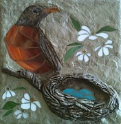 Blue Flowers Glass Art - Robin Nest and Eggs by Jeanne Porter