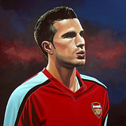League Painting Posters - Robin van Persie Poster by Paul  Meijering