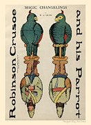 Paper Dolls Posters - Robinson Crusoe and his Parrot. Magic Changelings by M. A. Glenn Poster by Pierpont Bay Archives