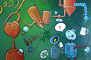 Robots Drawings Framed Prints - Robot Brews Framed Print by Tina McCurdy