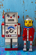 Robotic Framed Prints - Robot friends Framed Print by Garry Gay