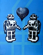 Stripe.paint Posters - Robot Love Poster by Dien Holland