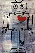 Robots Framed Prints - Robot Love Machine Framed Print by Brandi Fitzgerald