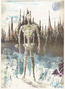 Science Fiction Drawings - Robot with Daisy by Ty Walsh Trez