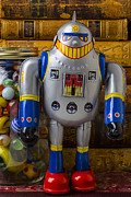 Glass Jar Posters - Robot with marbles and books Poster by Garry Gay