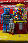 Plaything Prints - Robots and bubblegum machine Print by Garry Gay
