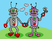 Friendly Cartoon Posters - Robots in love Poster by Sylvie Bouchard