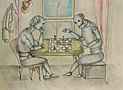 Chess Drawings Posters - Robots Poster by Thuraya R