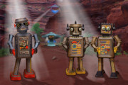 Toys Digital Art Metal Prints - Robots With Attitudes  Metal Print by Mike McGlothlen