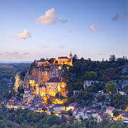 Twilight Prints - Rocamadour Midi-Pyrenees France Twilight Print by Colin and Linda McKie