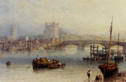 Myles Birket Foster Prints - Rochester From The River Print by Myles Birket Foster