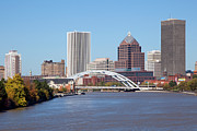 Rochester Skyline Framed Prints - Rochester New York Skyline Framed Print by Bill Cobb