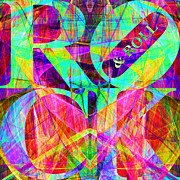 Popart Digital Art Prints - Rock And Roll 20130708 Fractal Print by Wingsdomain Art and Photography
