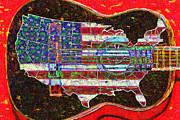 Music Map Prints - Rock and Roll America 20130123 Red Print by Wingsdomain Art and Photography