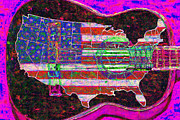 Music Map Prints - Rock and Roll America 20130123 Violet Print by Wingsdomain Art and Photography