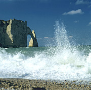Breakers Posters - Rock arch. Etretat. Seine-Maritime. Normandy. France. Europe Poster by Bernard Jaubert