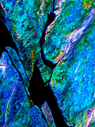 Bill Caldwell Prints - Rock Art 17 in Aqua Print by ABeautifulSky  Photography