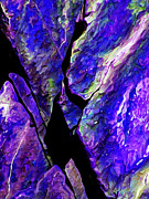 Digitally Manipulated Photo Posters - Rock Art 17 in Blue Poster by ABeautifulSky  Photography