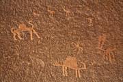 Rock Art At Wadi Rum In Jordan Print by Robert Preston